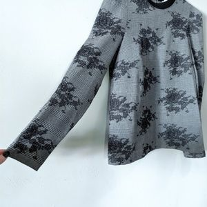 ZARA Grey Plaid Floral Lace Puffed Sleeve Blouse